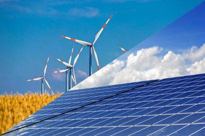 Placas energía solar con molinos eólicos